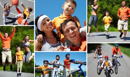 Photo for Collage of sporty family having active leisure - Royalty Free Image