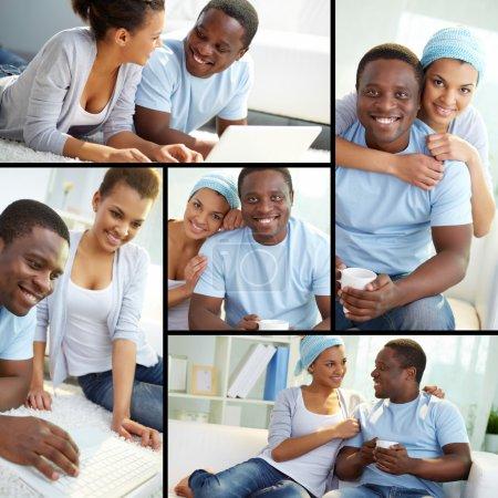 Photo pour Collage de jeunes couples africains à la maison - image libre de droit