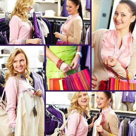 Photo pour Collage de jolies filles dans un grand magasin - image libre de droit