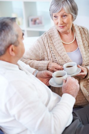 Photo pour Portrait de l'homme mûr et sa femme buvant du thé et interagissant - image libre de droit