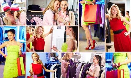 Photo pour Collection de photos des acheteurs heureux dans le centre commercial - image libre de droit
