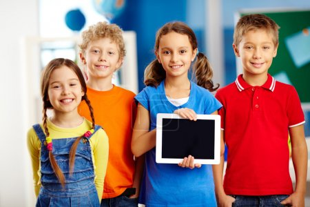 Photo for Portrait of smart schoolkids standing in line and looking at camera - Royalty Free Image