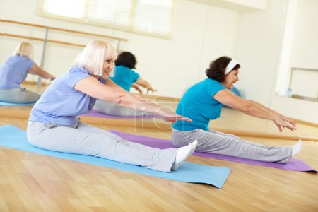 Photo for Portrait of sporty females doing physical exercise in sport gym - Royalty Free Image