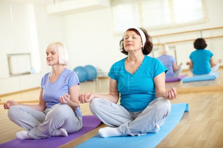 Photo for Portrait of two aged females doing yoga exercise in sport gym - Royalty Free Image