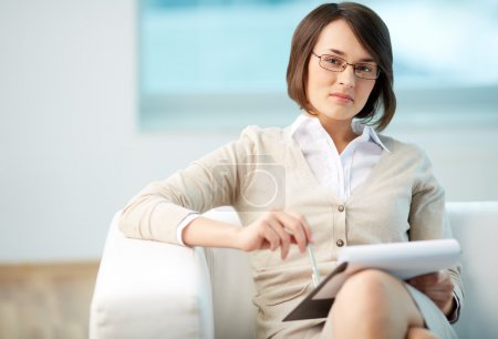 Photo for Portrait of a friendly counselor being ready to take notes - Royalty Free Image