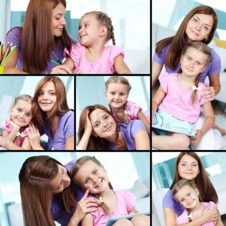 Photo pour Collage d'une mignonne petite fille et sa mère à la maison - image libre de droit