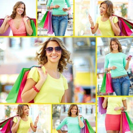 Foto de Collage de una chica de compras con bolsas de papel - Imagen libre de derechos