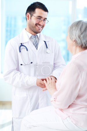Speaking with patient