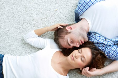 Photo for Above-view image of a happy couple enjoying togetherness - Royalty Free Image