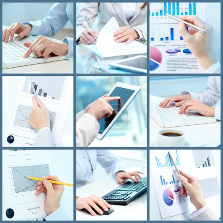 Photo for Collage of businesswoman hands working with touchpad and papers in office - Royalty Free Image