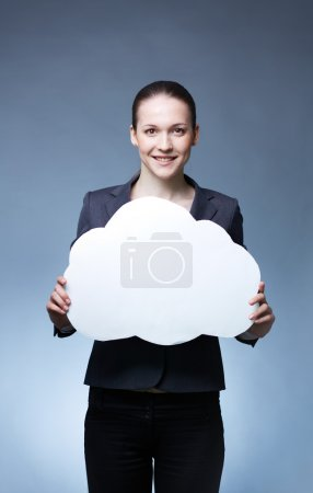 Photo for Portrait of young smiling female holding paper speech bubble in front of her - Royalty Free Image