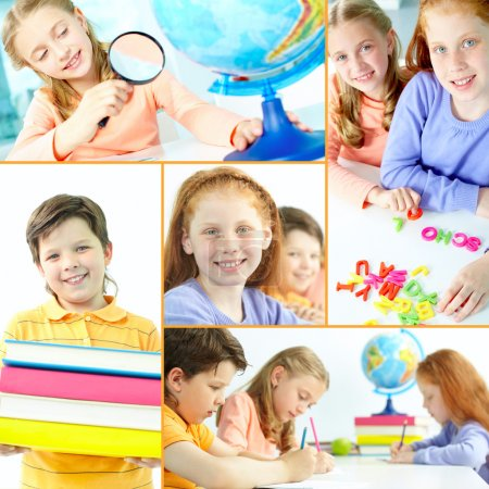 Photo for Collage of schoolkids during studies in school - Royalty Free Image