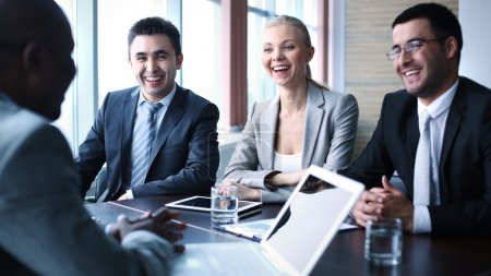 Photo for Image of business people interacting at meeting - Royalty Free Image