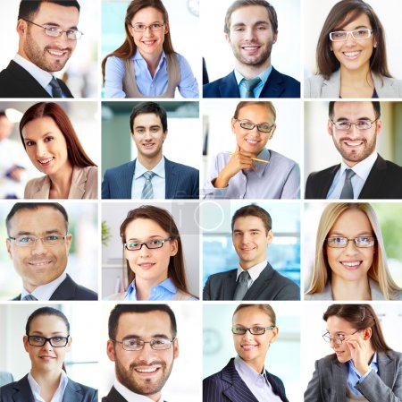 Photo for Collage of confident employees looking at camera with smiles - Royalty Free Image
