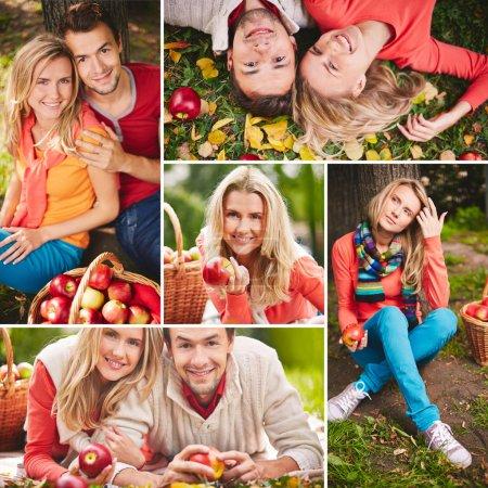 Foto de Collage de jóvenes felices con manzanas maduras - Imagen libre de derechos