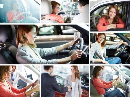 Photo pour Collage de jolie femme assise dans la voiture et le vendeur - image libre de droit