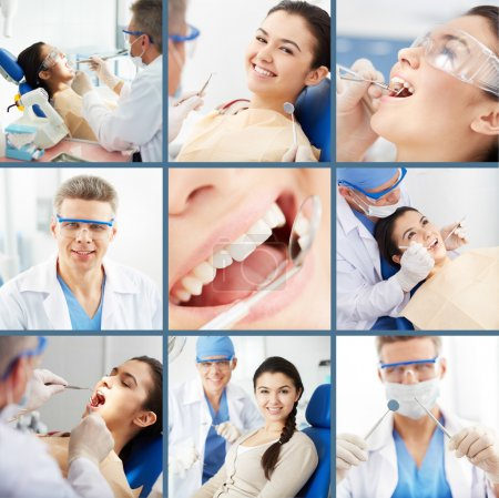 Photo for Collage of young girl at the dentist's - Royalty Free Image