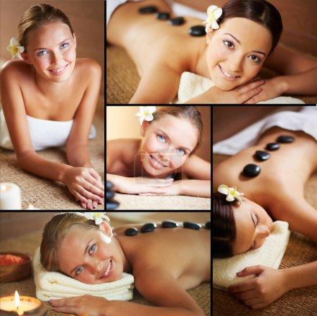 Females enjoying spa procedures