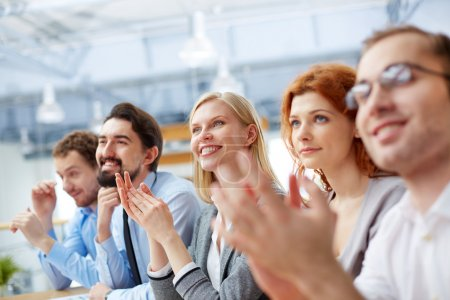 Photo for Image of a business team with its leader being at the conference on the foreground - Royalty Free Image