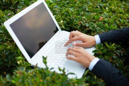 Geschäftsfrau tippt auf Laptop