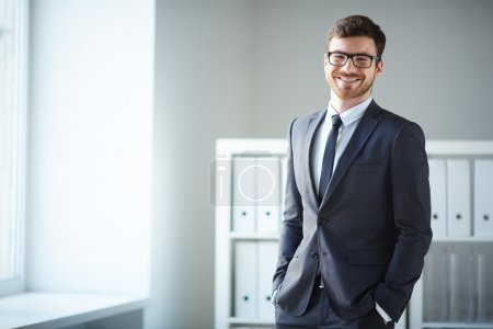 Businessman in suit and eyeglasses