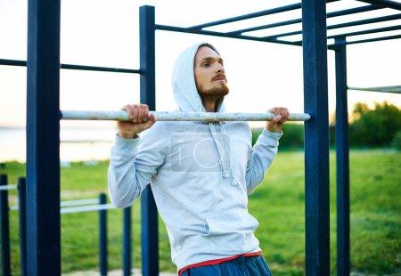 Man training on sport equipment