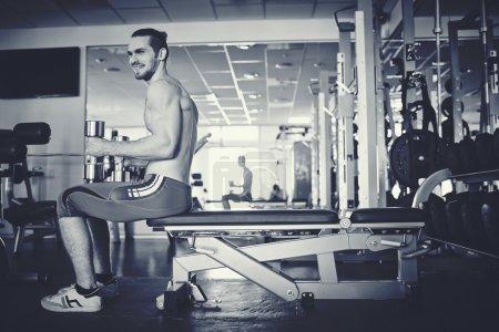 Man training in gym