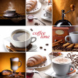 Collage with coffee cups, croissant, coffee mill...