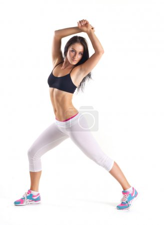 young woman doing aerobics exercise