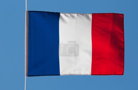 French flag in wind against the sky