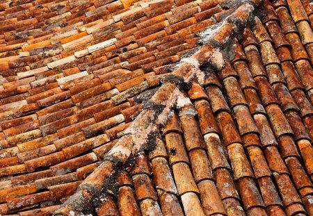 Photo pour Vieux bardeaux sur un toit - image libre de droit