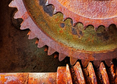 Old and rusty pinion gear of a mechanical machine