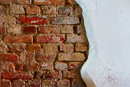 Photo for Old plaster on the red brick wall - Royalty Free Image