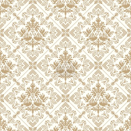 Illustration for Seamless royal golden wallpaper and background - Royalty Free Image