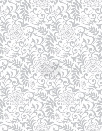 Silver seamless floral background