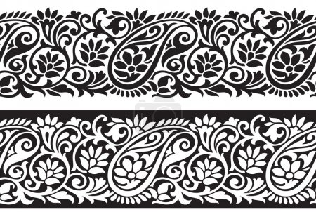 Illustration for Seamless vector paisley designer border - Royalty Free Image