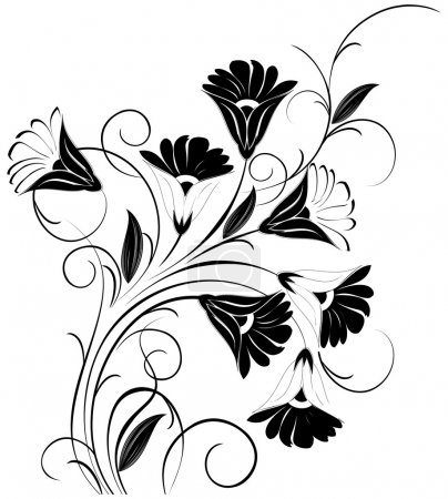 Illustration for Floral vector design element in black - Royalty Free Image