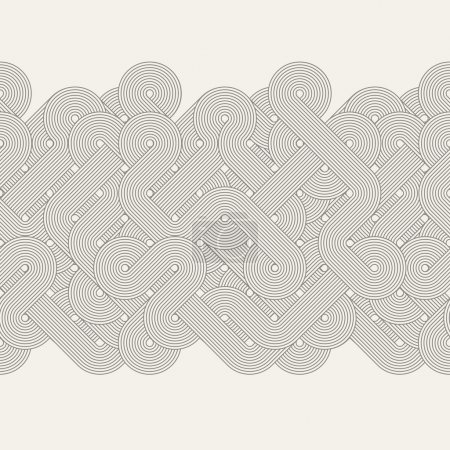 Illustration for Seamless abstract border. Twisted lines. Vector illustration - Royalty Free Image