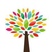 Abstract stylized color tree icon Vector illustration