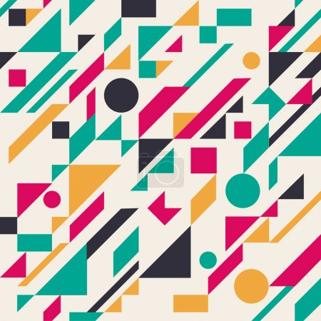 Illustration for Seamless retro abstract geometric pattern. Vector illustration - Royalty Free Image