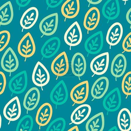 Illustration pour Modèle élégant sans couture avec des feuilles. Illustration vectorielle - image libre de droit