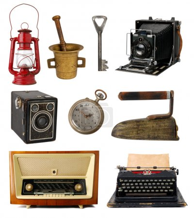 Photo for Collection of vintage objects isolated on white background - Royalty Free Image