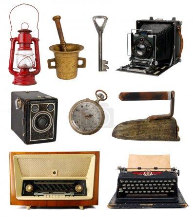 Foto de Colección de objetos vintage aislados sobre fondo blanco - Imagen libre de derechos