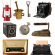 Collection of vintage objects isolated on white ba...