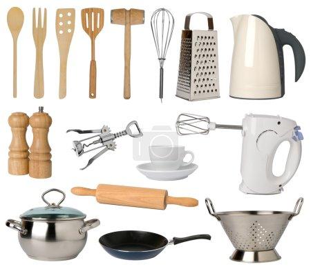 Photo pour Ustensiles de cuisine, isolés sur fond blanc - image libre de droit