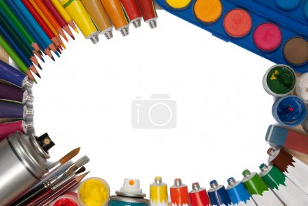 Paint, pencils, brushes and other art objects