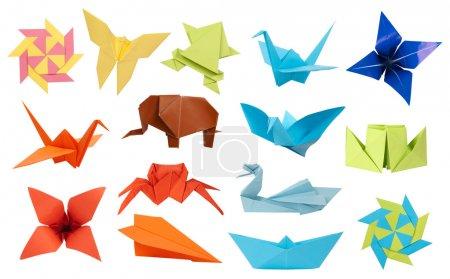 Foto de Colección de juguetes de papel origami aislado sobre fondo blanco - Imagen libre de derechos