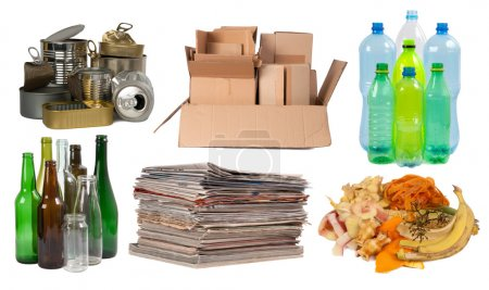 Photo for Garbage that can be recycled, isolated on white background - Royalty Free Image