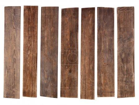 Photo pour Vieilles planches de bois isolées sur fond blanc - image libre de droit