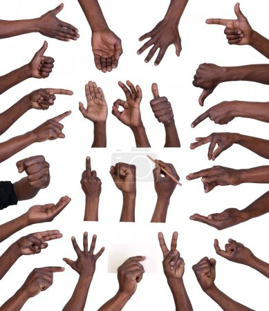 Photo pour Collection de gestes de main isolée sur fond blanc - image libre de droit